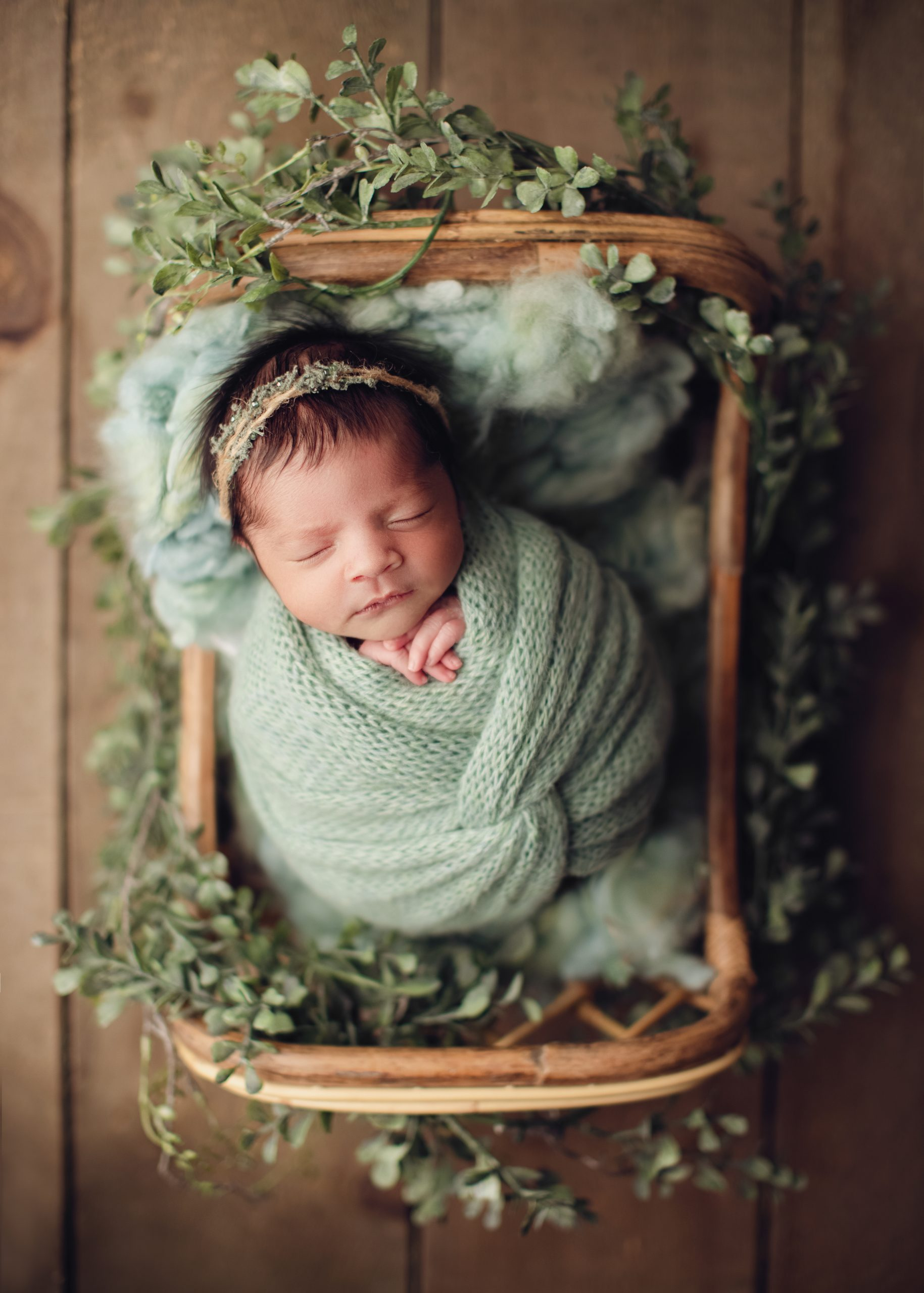 langley baby photographer, baby in a basket prop
